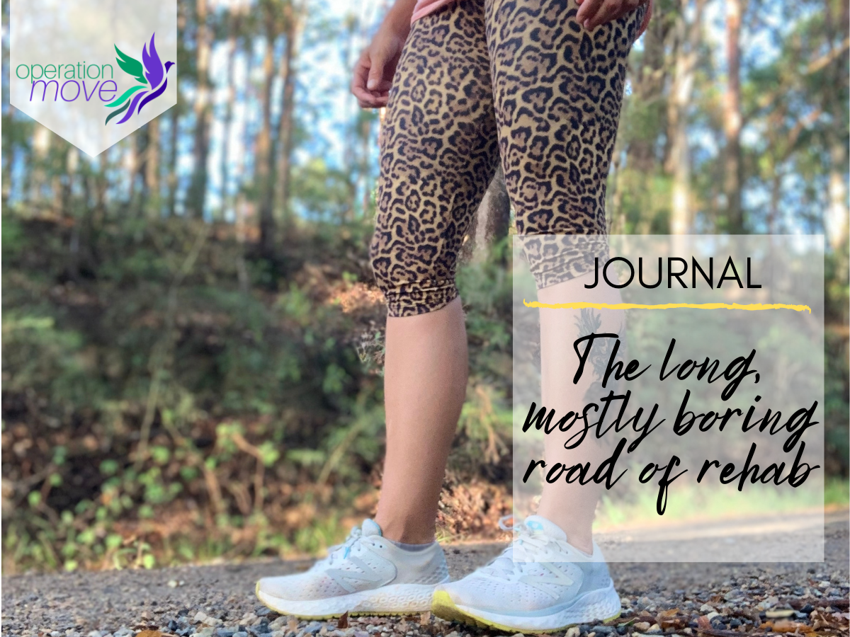Title image - Background of running tights - Title reads injury recovery - the long, mostly boring road of rehab